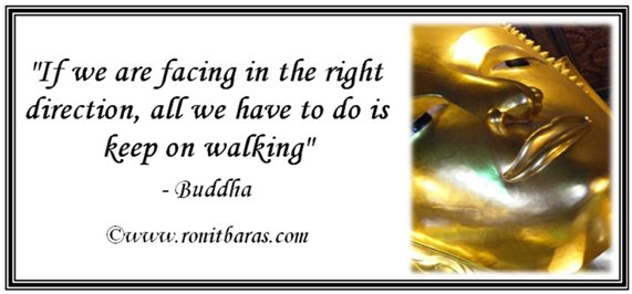If we are facing in the right direction, all we have to do is keep on walking - Buddha