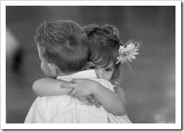 Kids hugging