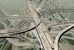 Complex highway intersection