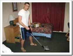 Teen vacuuming