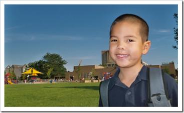 Happy primary school student