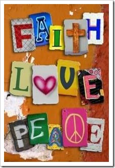 Faith, love, peace sign