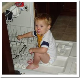 Baby in dishwasher