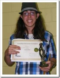 Happy Tsoof with an award