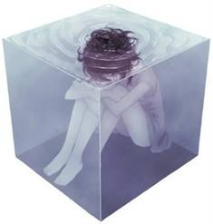 Girl captured in liquid cube