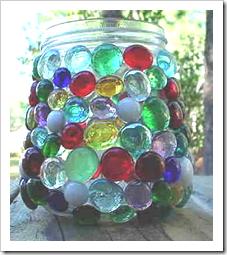 Glass jar with beads