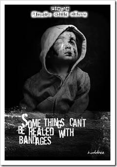 Anti bullying poster with badly hurt toddler