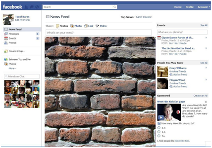 Facebook page with a brick wall