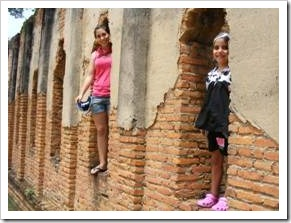 Girls in old Thai temple