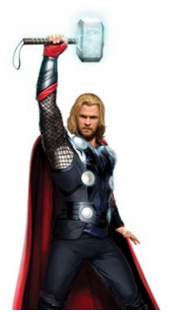Thor raising his hammer