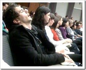 Student sleeping at a lecture