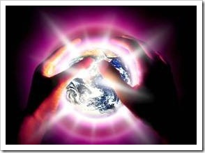 Hands around a shiny globe