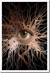 Eye surrounded by neurons