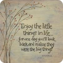 Enjoy the little things in life, for one day you'll look back and realize they were the big things