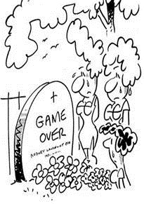 Tombstone saying Game Over