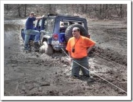 Jeep stuck in the mud