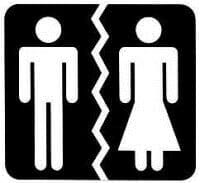 Toilet man and woman icons torn apart