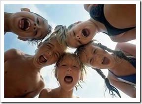 Circle of shouting kids