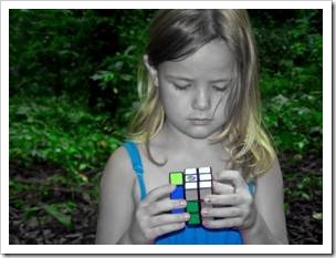 Girl with a Rubik's Cube