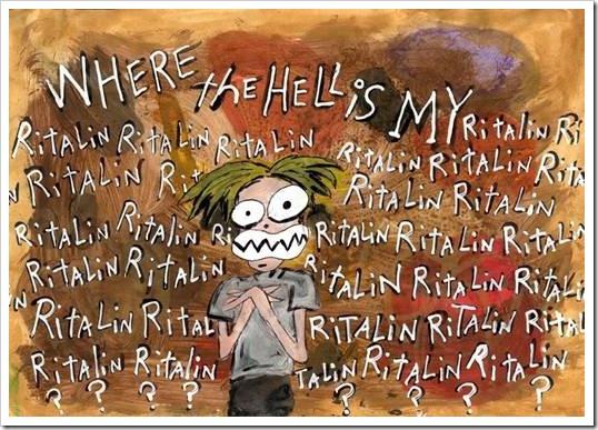 Ritalin caricature of crazed child