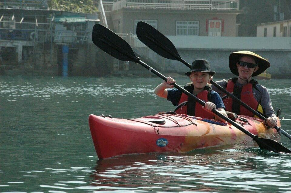 Father and son on a kayaking adventure