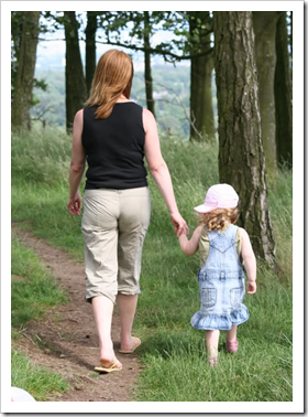 Mother walking with daughter in the woods