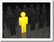 Yellow person among grey people