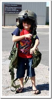Little boy in pilot gear