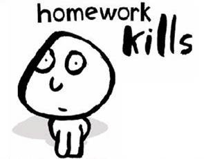 Homework kills (caricature)