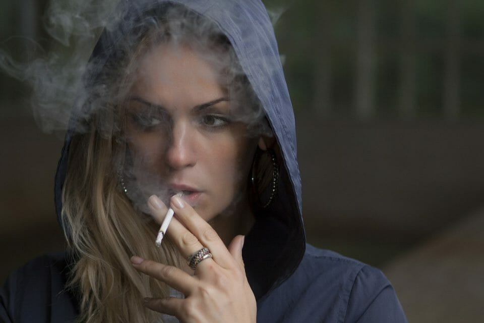 Teen girl smoking