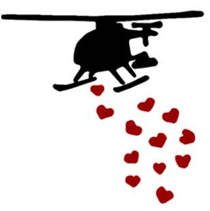 Helicopter dropping hearts