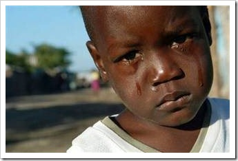 African boy crying