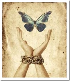 Hands letting go of butterfly