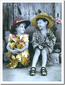 Boy and girl in retro style