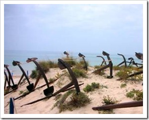 Anchors on a beach