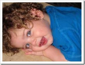 Baby wearing blue