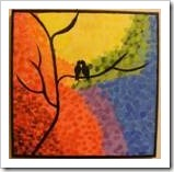 Painting of two lovebirds on a tree