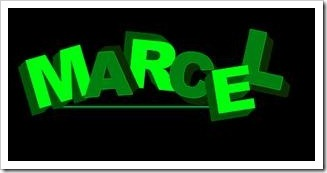 "The word""Marcel"" in green block letters"