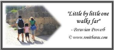 Little by little one walks far.  Peruvian Proverb