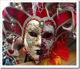 Red and white masquerade mask