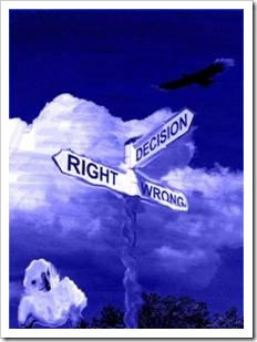 Street sign saying right, wrong and decision