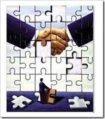 Puzzle of people shaking hands