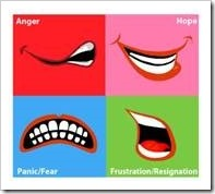 Agngry, hopeful, fearful and frustrated faces