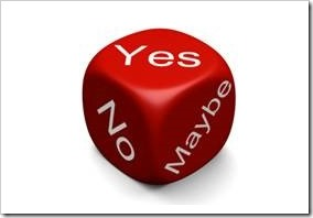 red die with yes, no and maybe on it