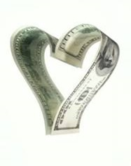 Two American dollar bills forming a heart shape