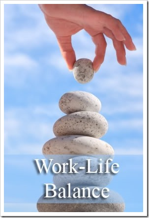 A pyramid of stones being balanced. Caption reads: Work-Life Balance