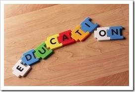 Puzzle pieces forming the word Education