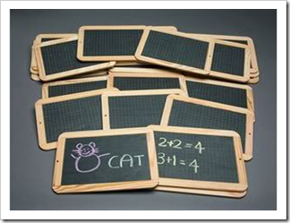 Pile of small chalkboards