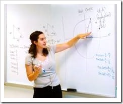 Teacher explaining a whiteboard