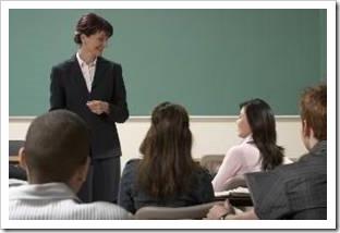 Teacher standing before a class